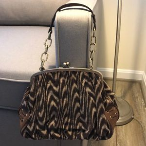 Women's Hype Brown Leather & Corduroy Snap Purse